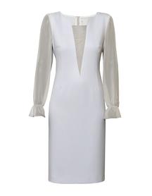 Sukienka wizytowa z jedwabiem w kolorze jasno szarym