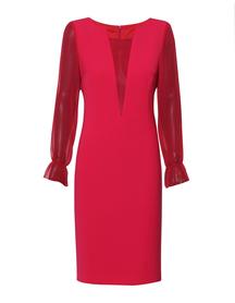 Sukienka wizytowa w pięknym kolorze malinowo-bordowym z dodatkami z jedwabiu.