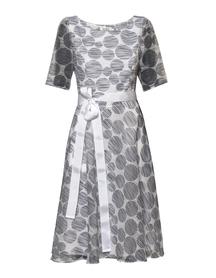 Sukienka z wrującym dołem z lekkiej tkaniny biało - granatowej