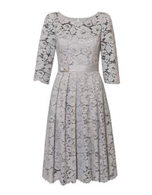 Wizytowa sukienka z koronki w kolorze jasno-szarym- szeroka