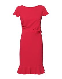 Sukienka z falbankami i drapowaniem w kolorze malinowym