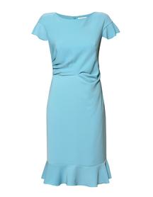 Sukienka z falbankami i drapowaniem w kolorze turkusowym