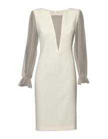 Sukienka wizytowa z jedwabiem w kolorze beżowo-waniliowym