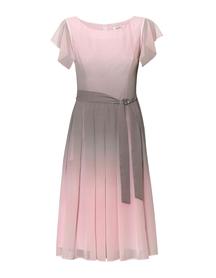 Sukienka z szyfonu cieniowanego różowo-szarego z zakładkami