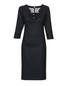 Sukienka  granatowa w drobne kropki z żabotem