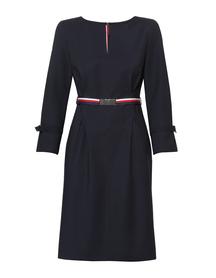 Granatowa sukienka z  bawełny z kolorowym paskiem