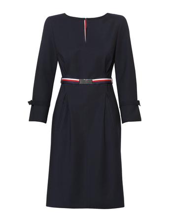 Granatowa sukienka  z kolorowym paskiem (1)