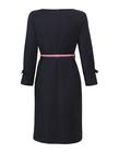 Granatowa sukienka  z kolorowym paskiem (2)