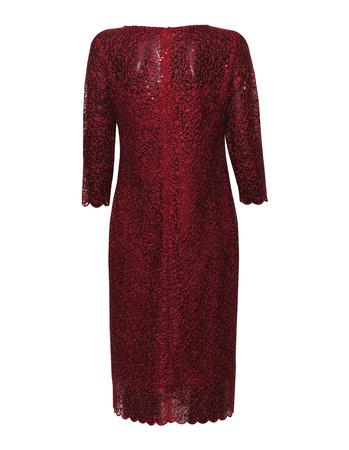 sukienka z haftu z lekko mieniącymi  się cekinkami  - kolor bordowy (2)