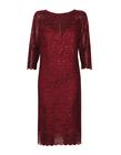 sukienka z haftu z lekko mieniącymi  się cekinkami  - kolor bordowy (1)