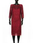sukienka z haftu z lekko mieniącymi  się cekinkami  - kolor bordowy (3)
