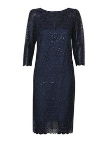 Sukienka granatowa z haftu z cekinkami