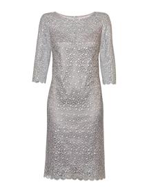 Szara sukienka z haftu z mieniącymi cekinkami