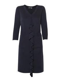 Granatowa sukienka z falbanką z przodu z cupro.