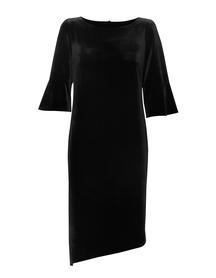 Czarna welurowa sukienka z asymetrycznym dołem