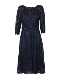 Wizytowa sukienka z haftu z cekinkami w kolorze granatowym