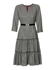 Sukienka z tkaniny w drobną krateczkę z nitką srebrną