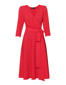 Malinowa sukienka zakładana -szeroki dół