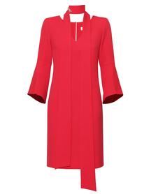 Sukienka malinowa prosta z szaliczkiem