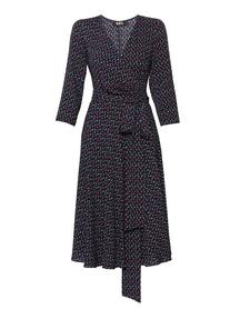Sukienka  kopertowa z wiskozy  z szerokim dołem