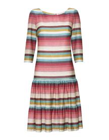 Sukienka z dwoma falbankami w róznokolorowe paseczki
