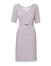 Klasyczna sukienka z paskiem -szara w drobne kropeczki