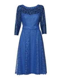 Szeroka sukienka z hatowanego tiulu - kobaltowa
