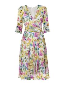 Szyfonowa sukienka w kolorowe kwiaty