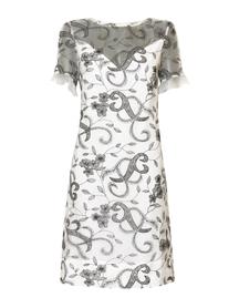 Wizytowa sukienka z jedwabnej organzy haftowanej