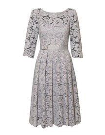 Sukienka wizytowa z pięknej szarej koronki