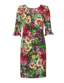 Prosta sukienka z nadrukiem ogrodu