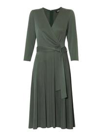 Kopertowa sukienka z modalu w kolorze zielonym