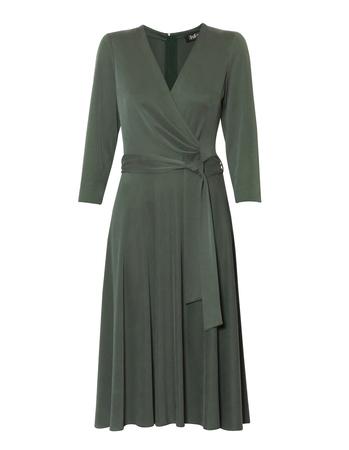 Kopertowa sukienka z modalu w kolorze zielonym (1)