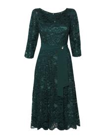 Wizytowa sukienka  ciemnozielona z koronki