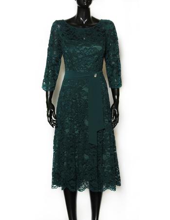 Wizytowa sukienka  ciemnozielona z koronki (3)