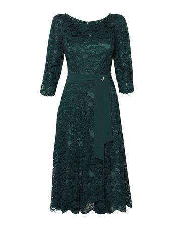 Wizytowa sukienka  ciemnozielona z koronki (1)