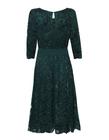 Wizytowa sukienka  ciemnozielona z koronki (2)