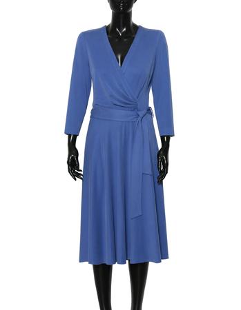 Sukienka kopertowa z modalu- jasny granat (3)