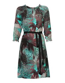 Sukienka w kolorystyce turkusowo-brązowej