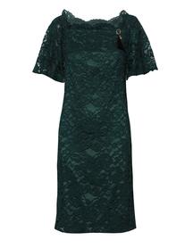 Sukienka koronkowa z pięknym dekoltem- ciemnozielona