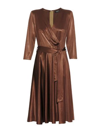 Sukienka z dzianiny z lekkim połyskiem -kolor ciemna wanilia (4)
