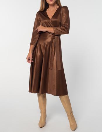 Sukienka z dzianiny z lekkim połyskiem -kolor ciemna wanilia (1)