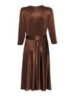 Sukienka z dzianiny z lekkim połyskiem -kolor ciemna wanilia (5)