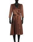 Sukienka z dzianiny z lekkim połyskiem -kolor ciemna wanilia (6)