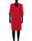 Malinowa klasyczna sukienka (3)