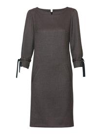 Prosta sukienka w drobną krateczke turkusowo -brązową.