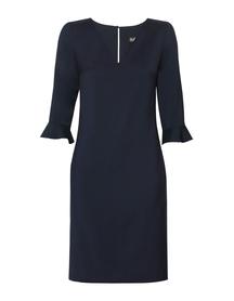 Prosta sukienka z cienkiej wełny - granatowa