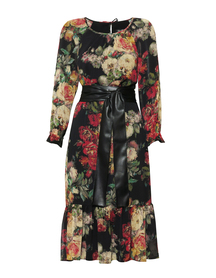 Sukienka w piękne bukiety z paskiem