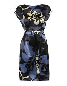 Jedwabna sukienka w kolorystyce granatowo -niebiesko -ecru.
