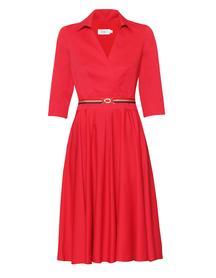 Bawełniano- wiskozowa czerwona sukienka z zakładeczkami